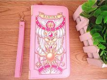 Cherry blossom wallet sailor moon PU magic card crowe wine red pink girl long version of the cute young an