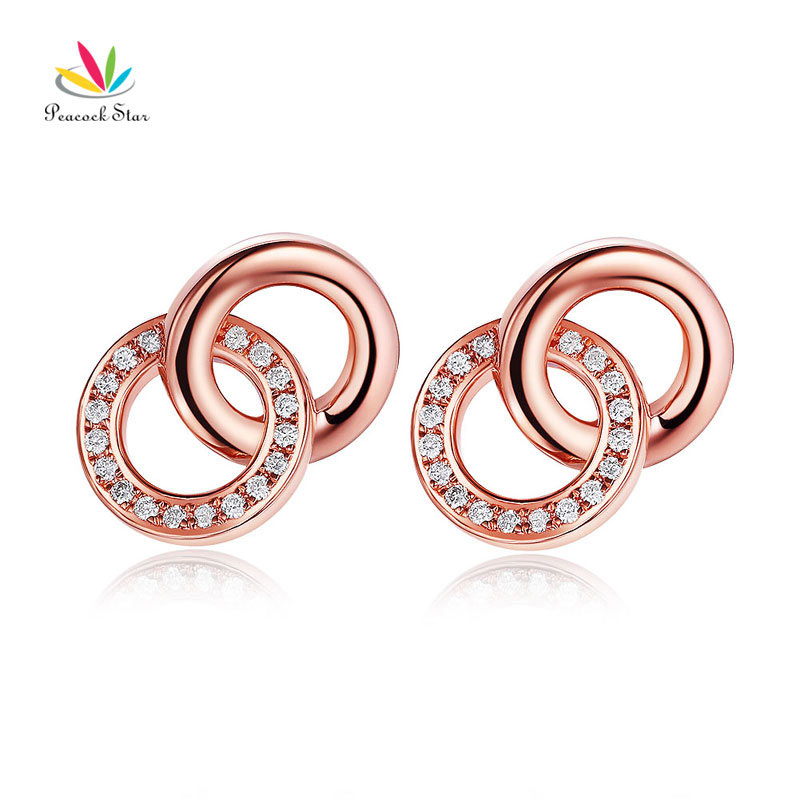 Peacock Star Solid 14K Rose Gold Stud Earrings Diamonds