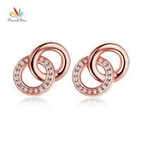 Peacock Star Solid 14K Rose Gold Stud Earrings 0.22 Carat Diamonds