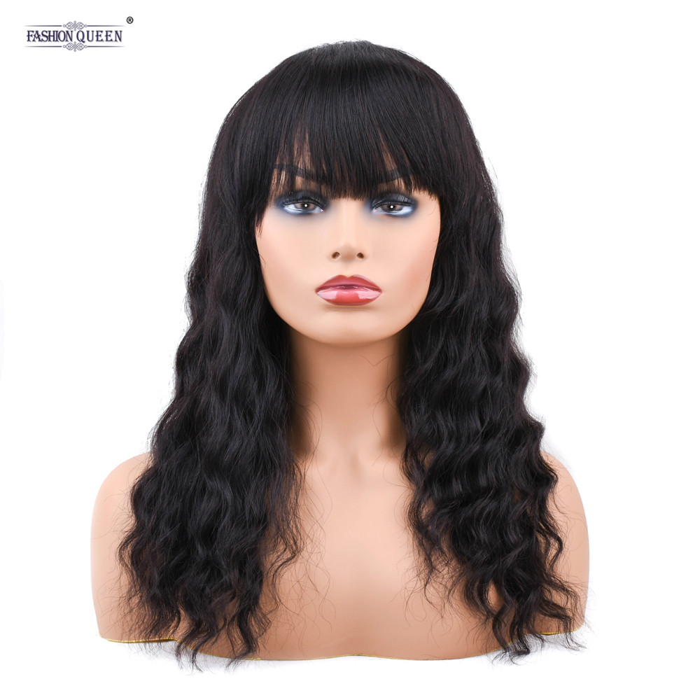 Sapphire Brazilian Ocean Wave Human Hair Wigs With Adjustable Bangs 14inch Short Wigs Machine Natural Color Non Remy Wigs 0492