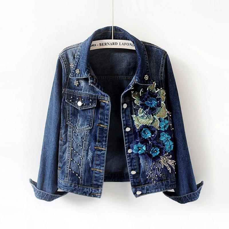2019 autumn new Korean embroidery flower long sleeve slim denim jacket female turn down collar loose