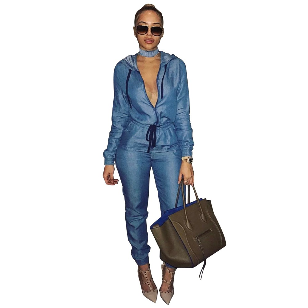 Casual Blue Denim Jumpsuit Women Solid Sexy Zipper Front V Neck Regular Women Jumpsuit Lace Up Bandage Female Body Slim Overalls