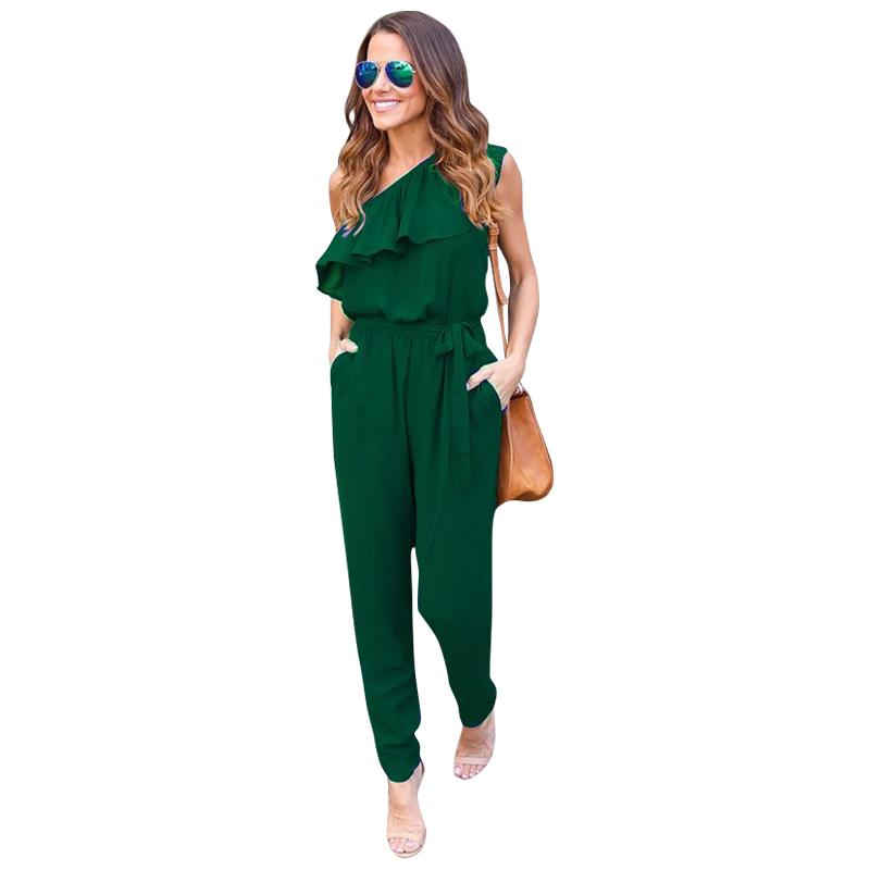 Women Chiffon Jumpsuit Rompers 2017 One Shoulder Elegant Sexy Sleeveless Long Pants Summer Ruffles Casual Overalls LJ9057C