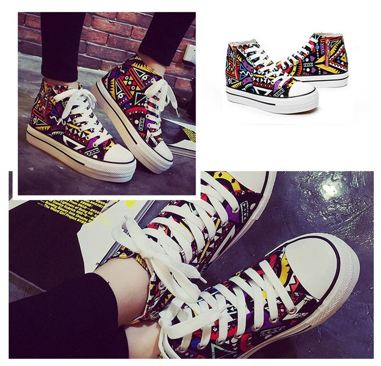 2016 spring summer high top canvas women shoes flower color graffiti Height Increasing casual women canvas shoes ST809 (5)