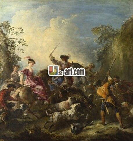 Reproduct art as canvas prints classical culture European aristocratic hunting of joseph parrocel the boar hunt Figure-170