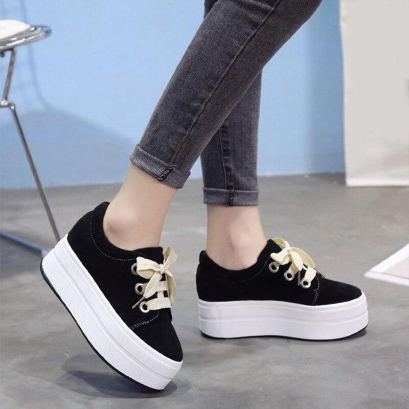 Vulcanisé Automne Plate Chaussures Pour Plat Casual Suede Creepers khaki forme Lacent Mcckle Femme Femmes Faux Noir Sneakers PvRBXqW5