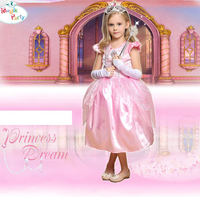 Halloween Cosplay Children Costumes Cute Pink Gem Princess Skirt 100 Percent Polyester Fiber Material With White Oversleeve
