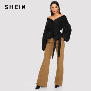 Image 4 - SHEIN 女性エレガントなランタンスリーブ冥衣ペプラムオフショルダーブラウス秋セクシーな女性のトップスやブラウス