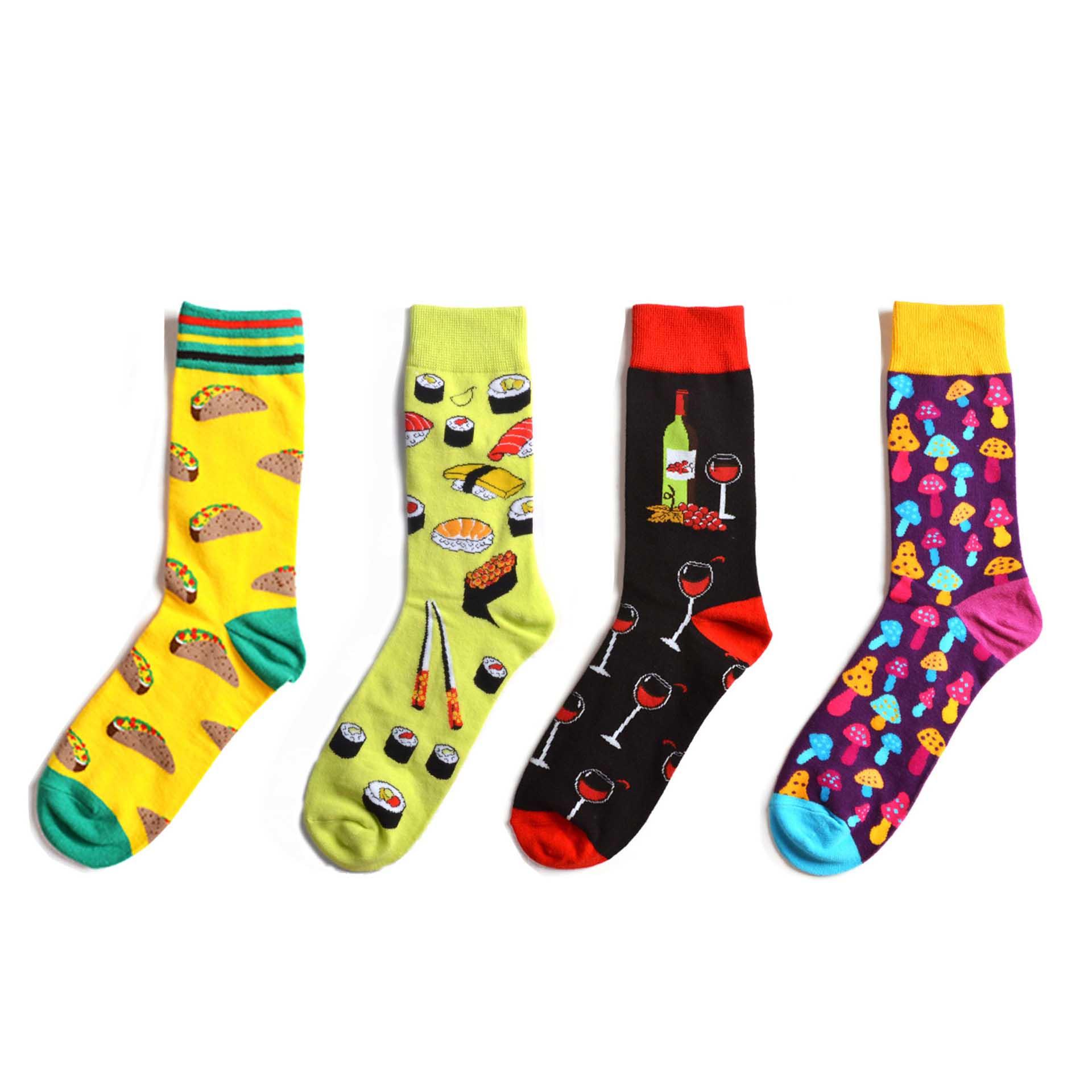 Fashion Harajuku Hip Hop Street Trend Men Women Cotton Socks Sushi Mushroom Novelty Pattern Happy Casual Skate Socks