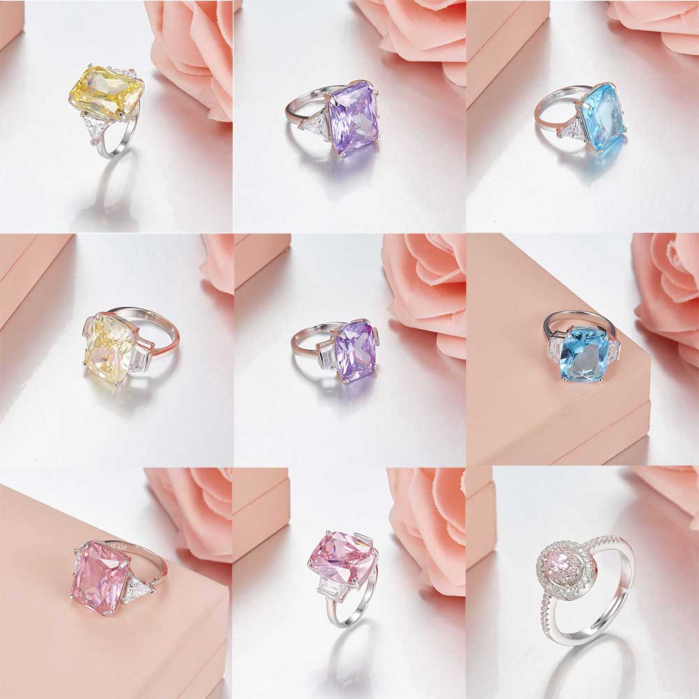 TIFF 100% 925 Sterling Silver Original Gemstone Charm Ring Fit DIY Original Jewellery Factory wholesale tiff 100