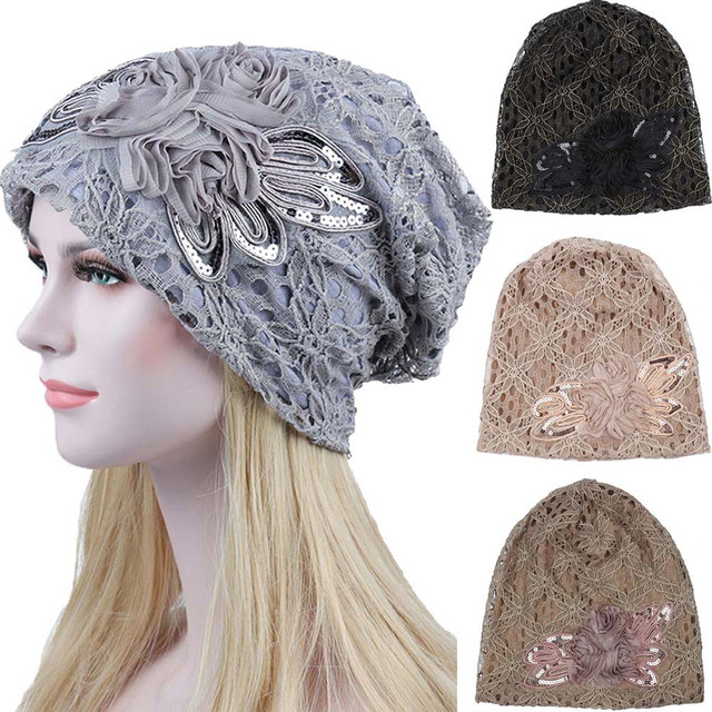 7620e0f1a66 Women Lace Flower Slouchy Baggy girl Head Cap Chemo Beanie Cancer Hat  Turban female Cotton Blend touca inverno