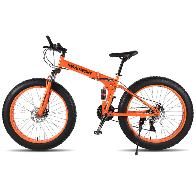 "Running Leopard new mountain double-layer steel bicycle folding frame 24 speeds Shimano mechanical disc brakes 26 ""x4.0 Fat Bike"