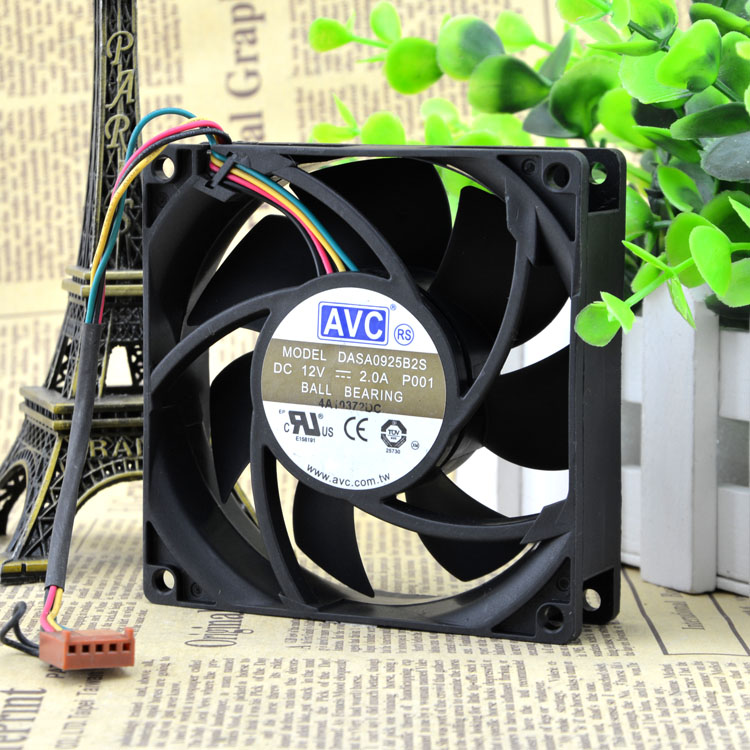 AVC DASA0925B2S 9CM 90*90*25MM 9025 12V 2.0A 4wire lead PWM fan комплект носков salomon socks sonic цвет белый синий 2 пары l40274900 размер m 38 40
