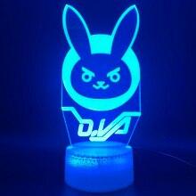 3d Optical Led Night Light Lamp Game Overwatch D.Va Hana Song Office Room Decorative Lamp Birthday Gift for Kid Child Nightlight