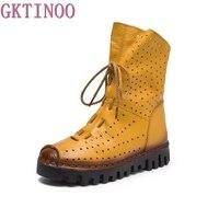 2017 Women Fashion Vintage Genuine Leather Shoes Female Spring Autumn Platform Ankle Boots Woman Lace Up