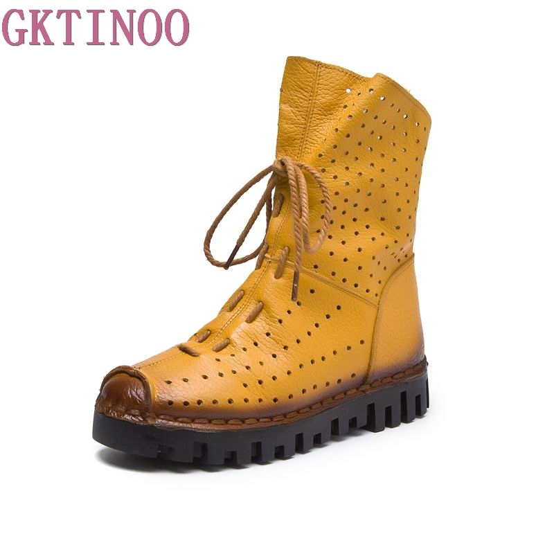 GKTINOO 2018 Women Fashion Vintage Genuine Leather Shoes Female Spring Autumn Platform Ankle Boots Woman Lace Up Casual Boots