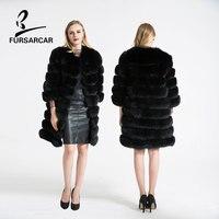 FURSARCAR Women Warm Winter Coat Fox Fur Coat 100 Genuine Leather Natural Fox Fur Coat Female
