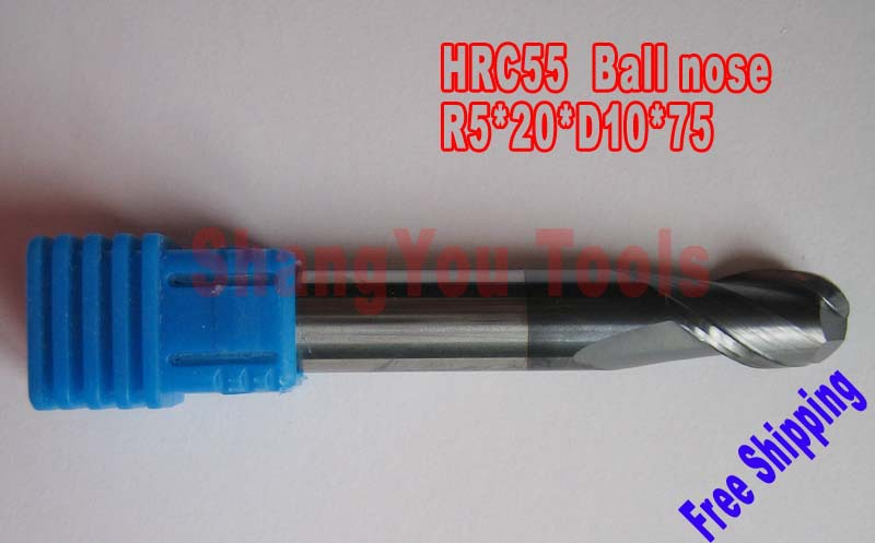 2pcs 10mm 2 Flutes Milling tools Milling cutter Ball nose End Mill CNC router bits hrc55 R5*20*D10*75