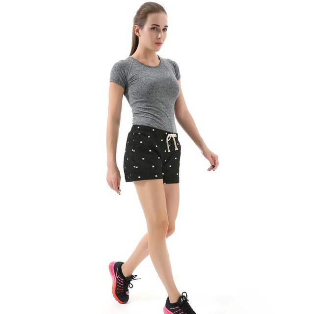 Women's home casual elastic waist cotton shorts printed cat pumping self-cultivation shorts candy shorts 21