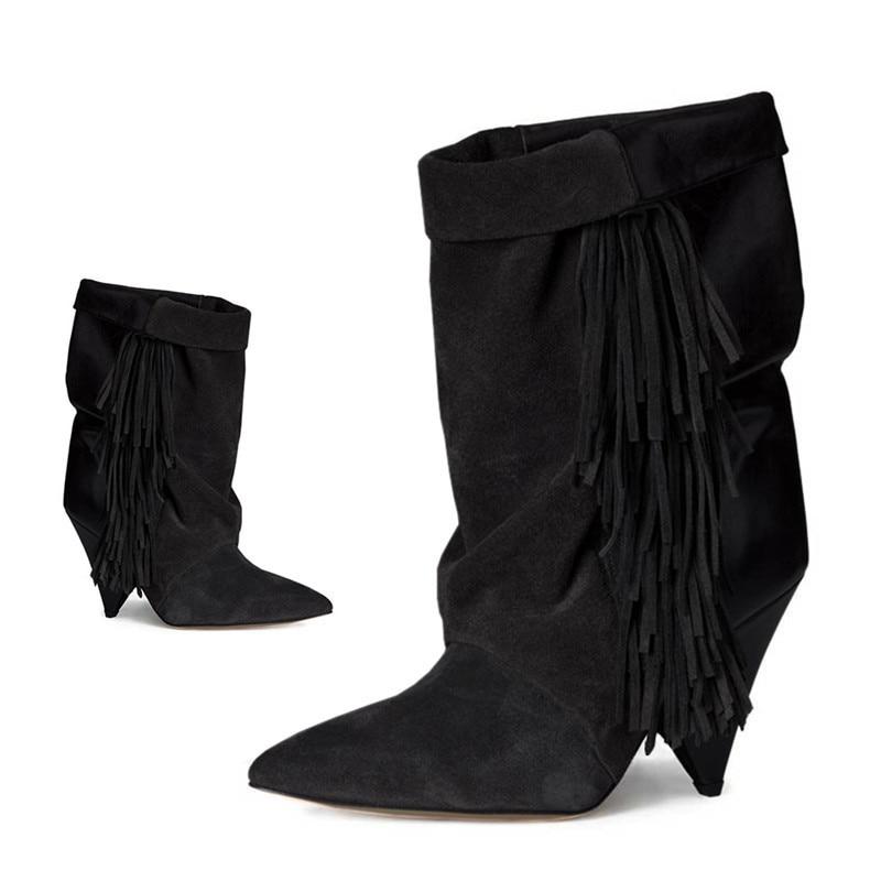 Feminina As De Vert Chaussures Cheville Bottes Femmes Spike Bout Cuir Nouveau Daim 2018 En Pic Talons as Bota Pic Véritable Femme Pointu Bordées qyEWZ4H