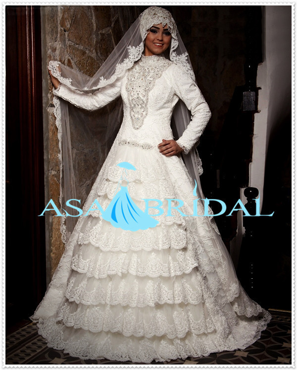 2016 robe de mariage de suzhou canadien lourd perles arabe dentelle manches longues gelinlik turc musulman - Ruban Rouge Mariage Turc
