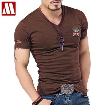 British Flag Embroidered Men Slim Fit V Neck T Shirt