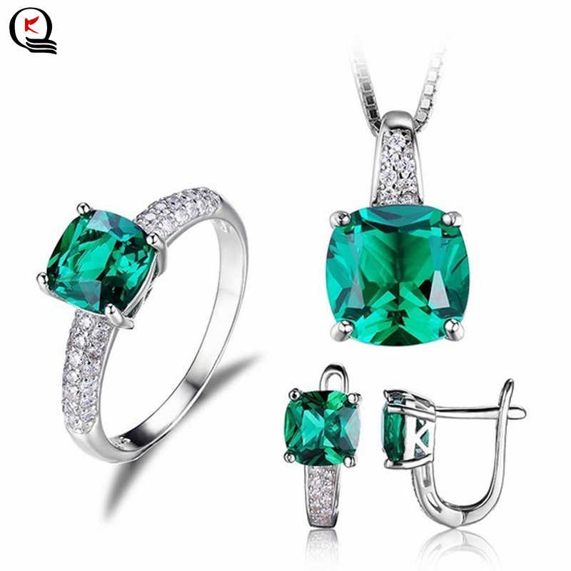 Women Silver Plated Jewelry Sets Elegant Green Crystal Ring Hoop Earring Pendant Necklace New Fashion Party Gifts Jewelry