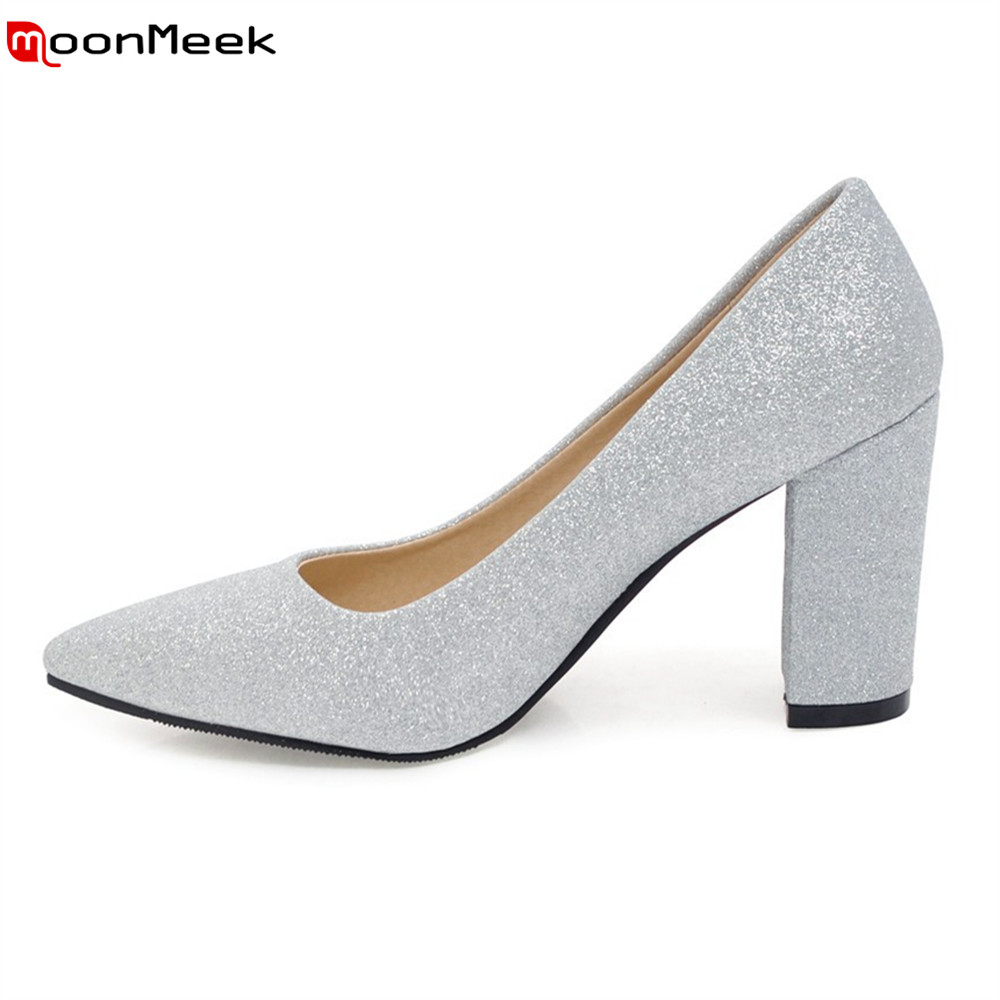 MoonMeek 2018 sexy ladies shoes shallow slip on pointed toe high heel sequined cloth thin heels party pumps women shoes