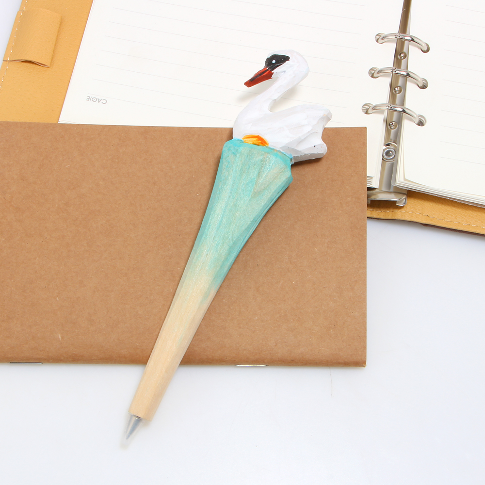 1pcs Novelty Creative Fashion Wood Swan Ballpoint Pen School Office Supplies Gifts For Kids Free Shipping In Banner Pens From On