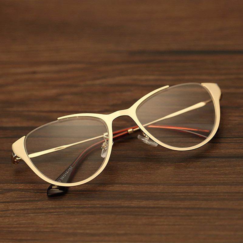 New Fashion Men Optical Glasses Frame For Women High Quality Metal Vintage Cat Eye Eyeglasses Half-frame Eyewear For Male Female