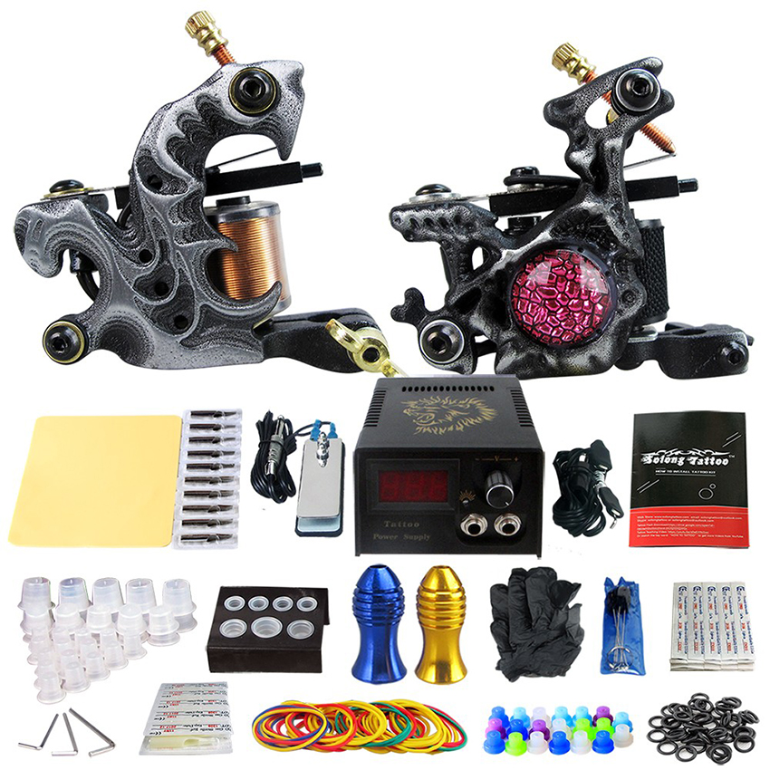 Holder Tattoo Kits Beginner Tattoo Power Supply  Footswitch 2Pcs Coil Tattoo Machine Grip Practice Needles Skin Cleaning Tools Holder Tattoo Kits Beginner Tattoo Power Supply  Footswitch 2Pcs Coil Tattoo Machine Grip Practice Needles Skin Cleaning Tools