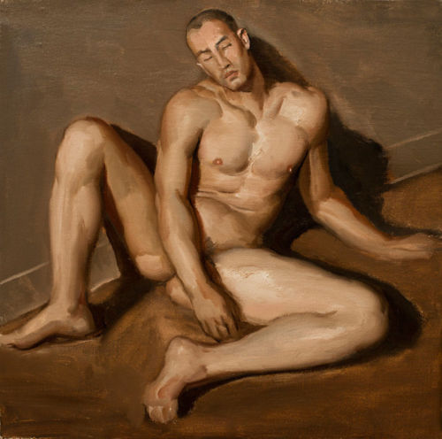"Hand-painted Original Oil painting art gay male nude on Canvas 24""X24"