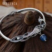 925 Sterling Thai Silver Natural Gemstone Phoenix Bracelets Fine Jewelry for Women Chalcedony Color Handmade Bracelets Malachite