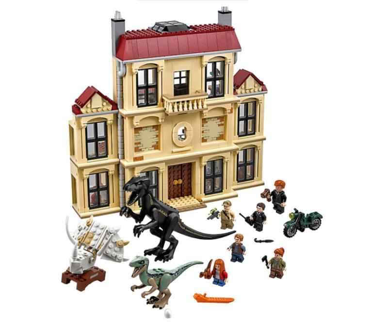 Legoinglys 75930 1046pcs Jurassic World ไดโนเสาร์ Indoraptor Rampage ที่ Lockwood Estate อาคารบล็อกของเล่นเด็ก 10928