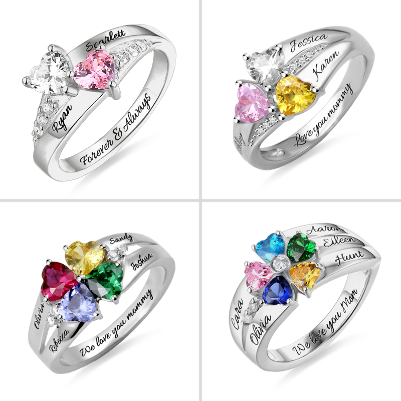 Персонализированные 925 пробы Серебряные Кольца На заказ камень талисман в форме сердца кольцо с 2 5 именами ювелирные изделия для ее матери день подарок женские кольца