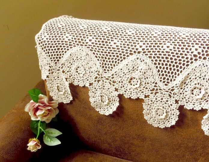 Navidad ganchillo hecho a mano flor tridimensional cortina beige ...