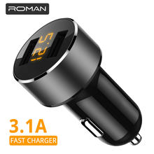 ROMAN 3.1A 5V Dual USB Car Charger With LED Display Universal Phone Car-Charger for Xiaomi Samsung S8 iPhone X 8 Plus Tablet etc(China)