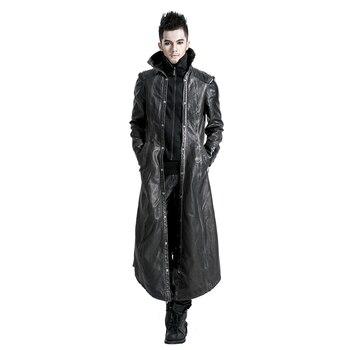 4c4be9b32d9 Панк искусственная кожа для мужчин длинные пальто осень зима высокий  воротник Готический Красивый Тренч черные мотоциклетные ветровк