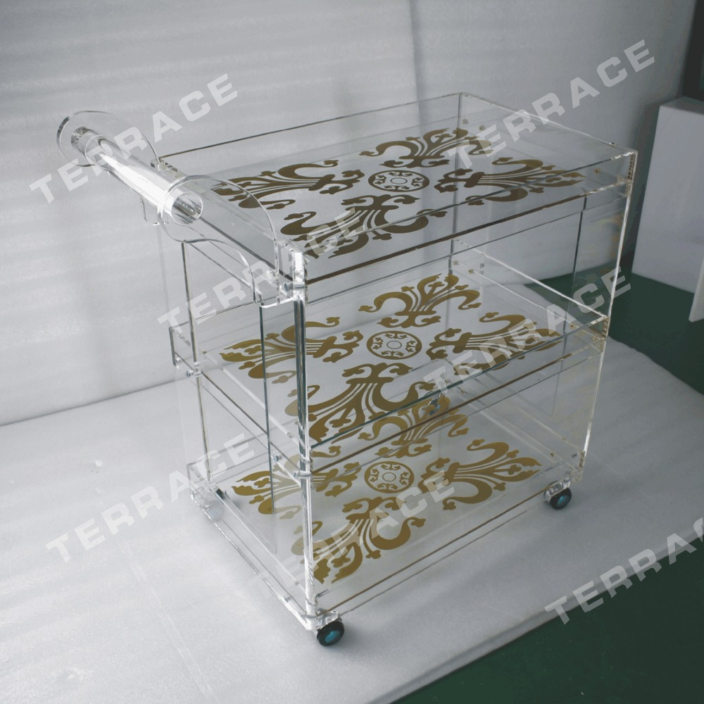 (Free shipping to Kuwait) Rolling clear acrylic food trolleys ,Lucite perspex serving bar carts kuwait