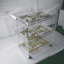 (Free shipping to Kuwait) Rolling clear acrylic food trolleys ,Lucite perspex serving bar carts(China)