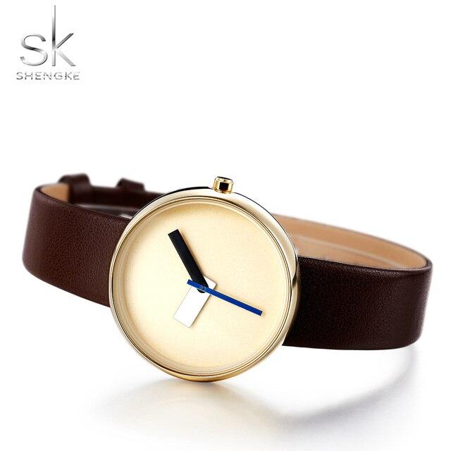 Shengke Top Brand Luxury Women Simple Wrist Watch Brown Leather Watch Women Caus