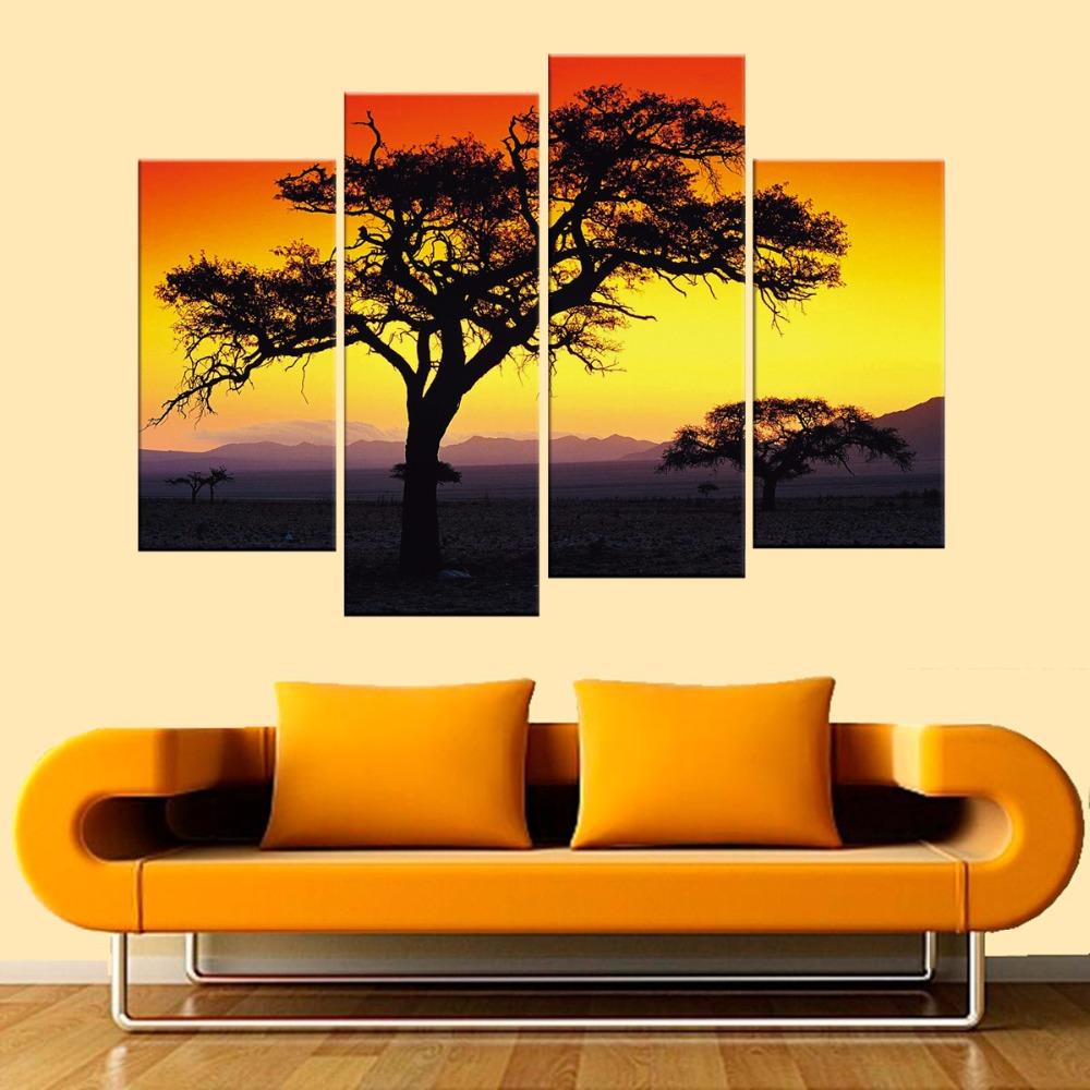 4 Panels Tree Wall Art High Definition Canvas Prints Modern ...