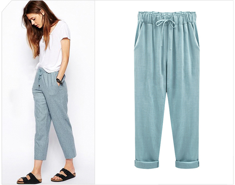 18 Wide Leg Pants Harem Pant Female Trousers Casual Spring Summer Loose Cotton Linen Overalls Pants Plus Size Candy Color 5