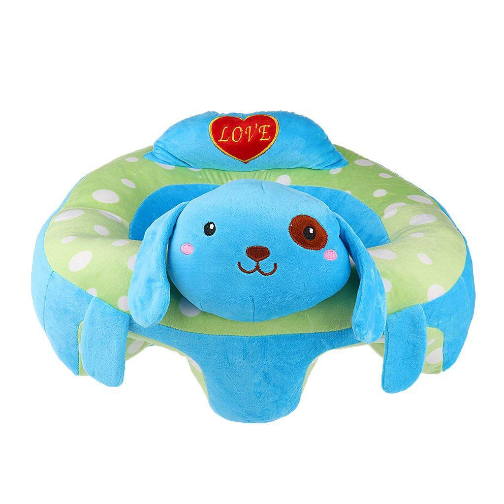 WOTT Baby Sitting Chair Baby Seat Learn To Sit Cute Animal Plush Toy- Blue Dog