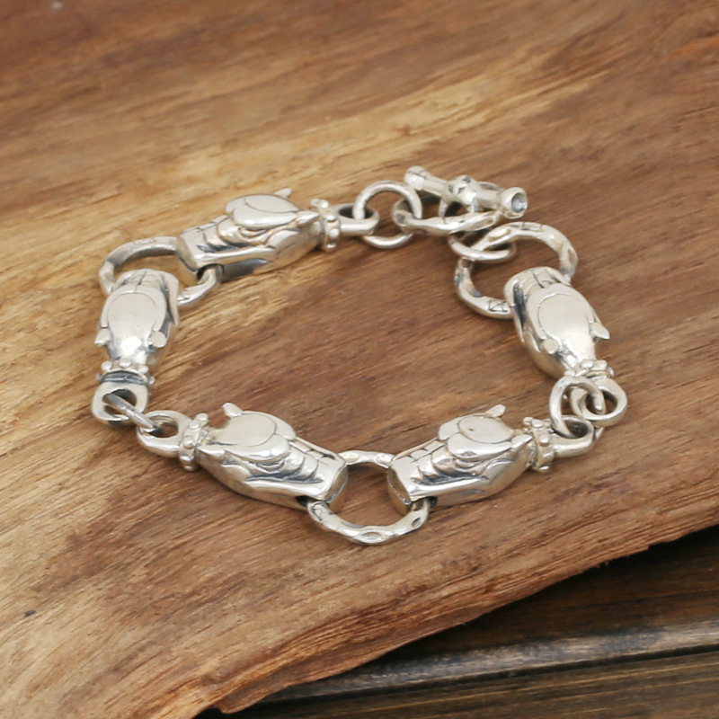 Wholesale S925 Sterling Silver Jewelry Men's Fashion Handmade Retro Thai Silver Dog Faucet Bracelet wholesale s925 sterling silver jewelry men fashion handmade retro thai silver original ring buckle bracelet