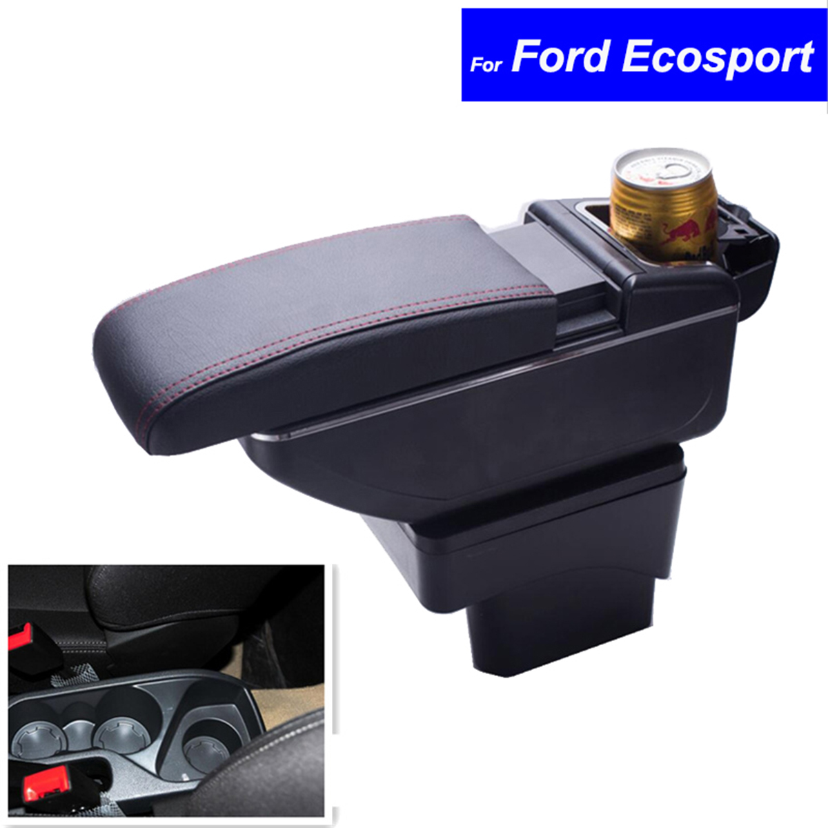 цена на Leather Car Center Console Armrests Storage Box for Ford Ecosport 2013 2014 2015 2016 Auto Parts Free Shipping