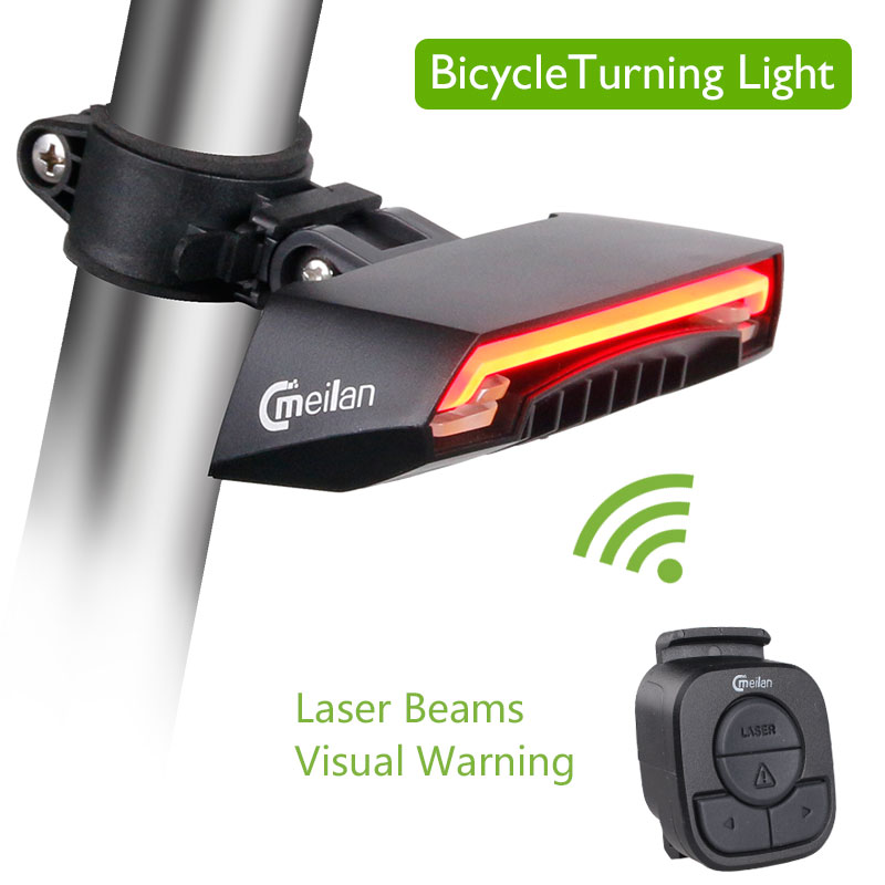 Meilan X5 Bicycle Smart Rear Light Bike Wireless Remote Turning Control Signal Tail Lamp Laser Beam USB Rechargeable Cycling wheel up bicycle rear seat trunk bag full waterproof big capacity 27l mtb road bike rear bag tail seat panniers cycling touring
