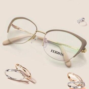 De las mujeres de la moda de marca de diseñador gato Gafas de Metal elegante marco medio de gafas señora Marcos ópticos de alta calidad RX FVG7001 LZ