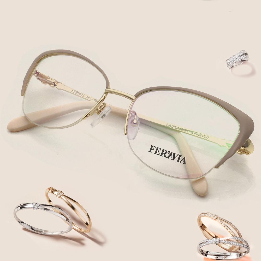 Mode Frauen Marke Designer Katze Brillen Metall Graceful Halb Rahmen ...