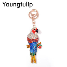 купить Youngtulip Colorful Enamel Parrot Key Chains Unisex Women and Man Animal Key Chains Rhinestone Accessories Christmas Gift New по цене 140.57 рублей